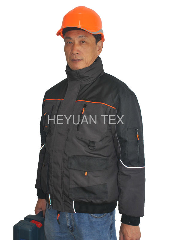 Multi Pocket Winter Work Jackets Tear Resistance With Elasticated Cuffs And Waist