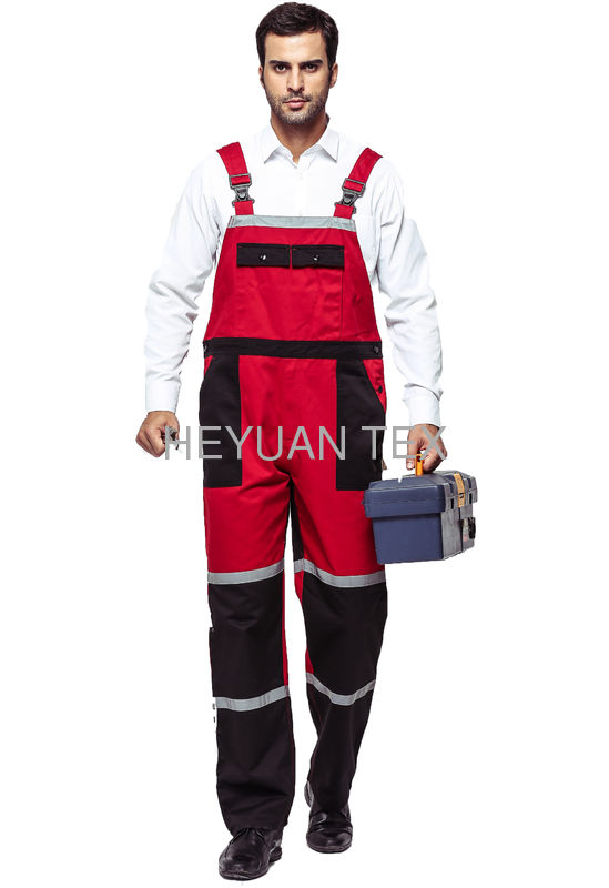 Twill Fabric Contrast Color Waterproof Bib And Brace Workwear With Reflective Tape