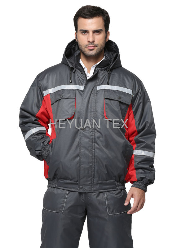100% Polyester Oxford Workwear Winter Jackets Wind Resistant With PU Coated Inside
